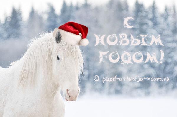 Открытка с новым годом лошадь 2017