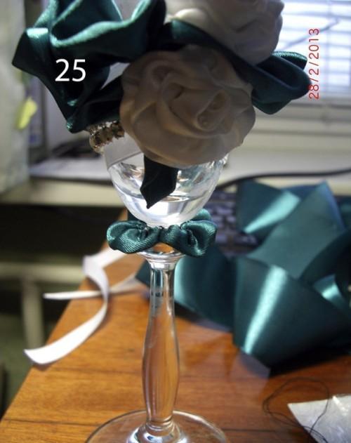 Украсить бокал на свадьбу своими руками